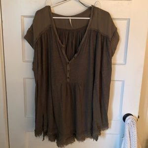 Army Green Free People Oversized Cotton Blouse